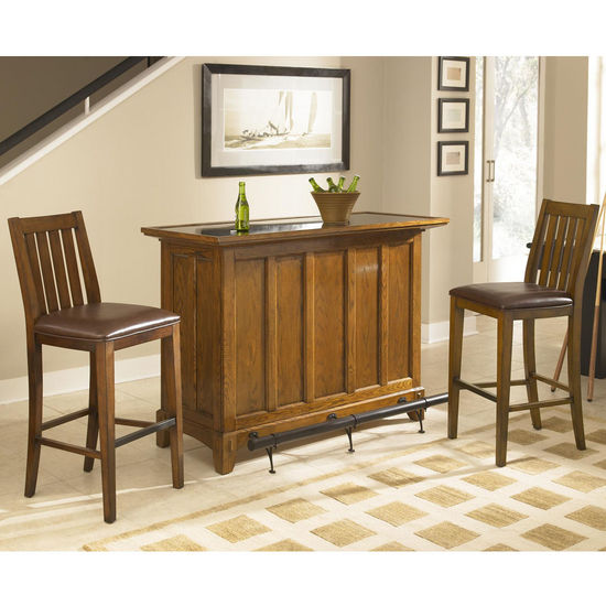 "Home Styles Arts & Craft 3-Pc. Bar Set w/ Bar & Two Stools, Distressed Oak Finish, 56""W x 24""D x 42""H"