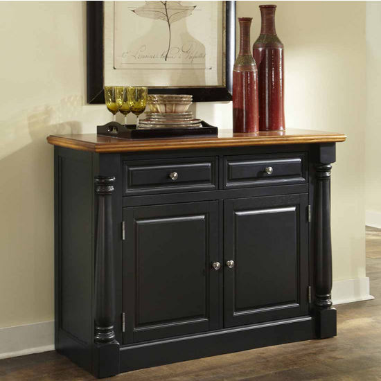 Home Styles Monarch Buffet, Oak and Black