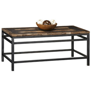 Home Styles Turn to Stone Cocktail Table, Petrified Wood & Black Metal