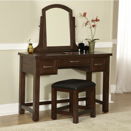 Home Styles Cabin Creek Vanity, Mirror & Bench, Chestnut