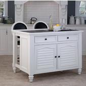 Bermuda White Kitchen Island & Two Stools by Home Styles