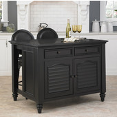 Bermuda Black Kitchen Island & Two Stools by Home Styles