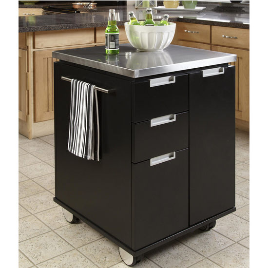 "Home Styles Modern Cart, Black Finish, 26-1/2""W x 24""D x 36""H"