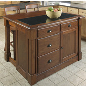 Aspen Kitchen Island w/ Granite Top & Two Stools by Home Styles