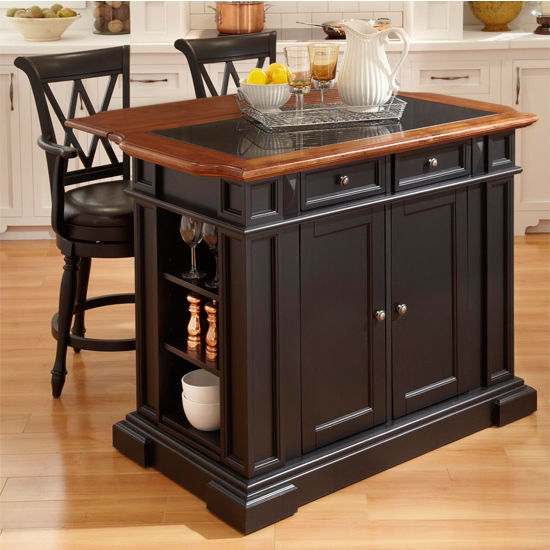 Home Styles Deluxe Tradition Island & Two Bar Stools, Black & Distressed Oak Finish