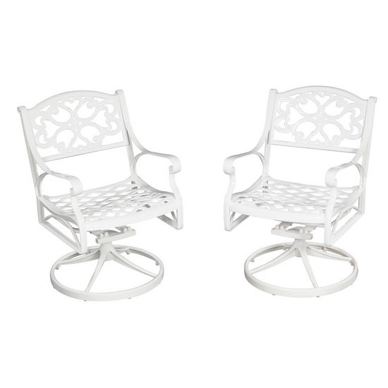 "Home Styles Biscayne Swivel Chair, White Finish, 25-1/4""W x 22""D x 33""H"