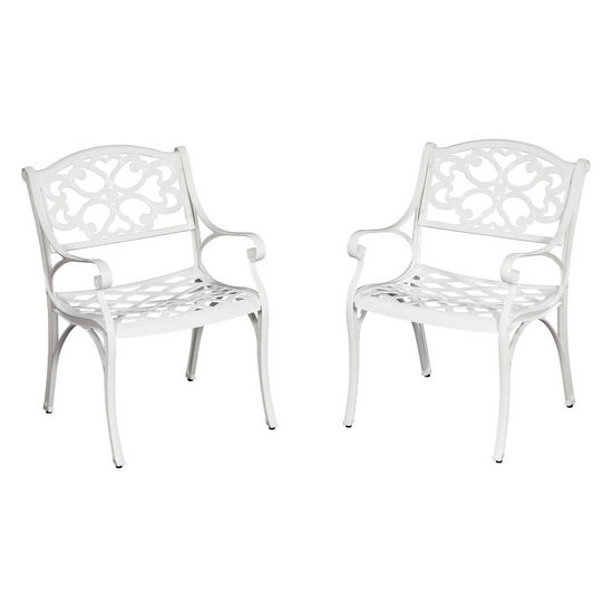 "Home Styles Biscayne Arm Chair, Pair, White Finish, 22-3/5""W x 22""D x 33""H"