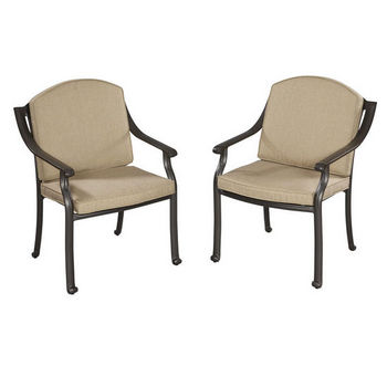 "Home Styles Covington Cushioned Arm Chair, Pair, Chocolate Metallic Finish, 29-1/4""W x 25-1/2""D x 36""H"