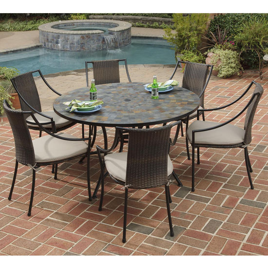"Home Styles Stone Harbor 7-Pc. Dining Set w/ 51"" Slate Dining Table & Six Laguna Arm Chairs, Black/Brown Finish, 51-1/4""W x 51-1/4""D x 29-1/2""H"