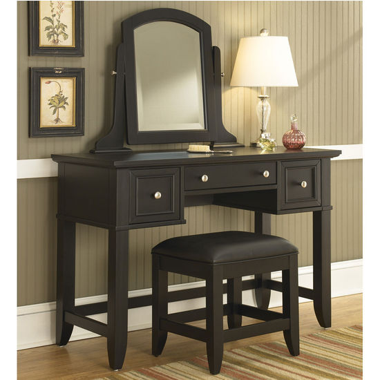 Home Styles Bedford Black Vanity Table Mirror Amp Bench