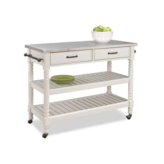 Home Styles Savannah Cart with Stainless Steel Top, White
