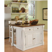 Monarch Kitchen Island with Two Stools by Home Styles
