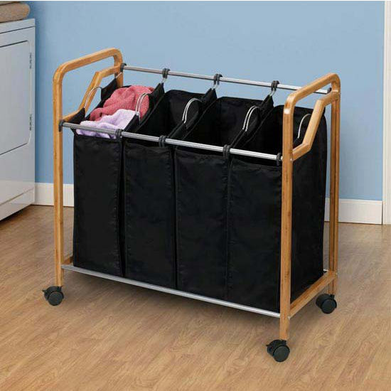 Household Essentials Quad Sorter with Rounded Edge Frame, Bamboo with Black Liners