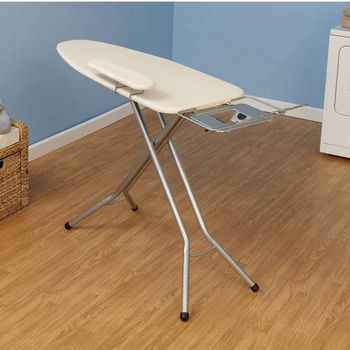 Household Essentials Fibertech Widetop Ironing Board with Satin Silver 4-Leg & Natural Cotton Cover