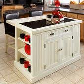 Nantucket Kitchen Island with Black Granite Inlay, White Distressed Finish by Home Styles