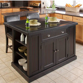 Nantucket Kitchen Island with Black Granite Inlay, Black Distressed Finish by Home Styles