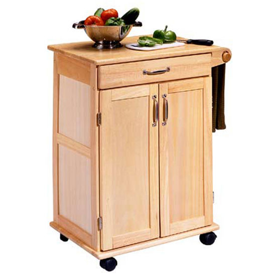 Home styles natural finish kitchen utility cart hs 5040 for Kitchen utility cart