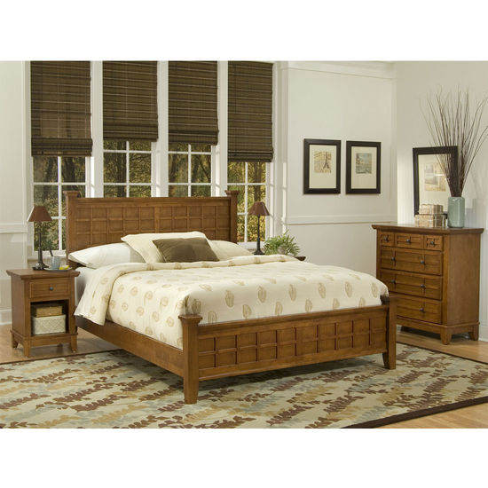 Home Styles Arts & Crafts Queen Bed, Night Stand & Chest in Cottage Oak Finish
