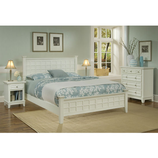 Home Styles Arts & Crafts Queen Bed, Night Stand & Chest in White
