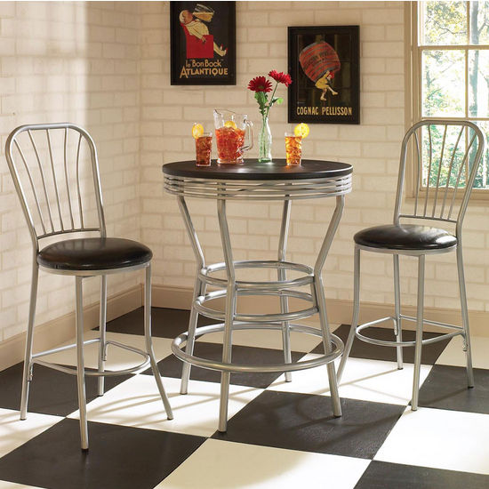Soda Shoppe Round Dining Table w/ Matching Bar Stools