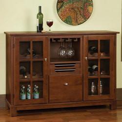 Home Styles Barbera Wine Cabinet with Stemware Storage, 12 Bottle Capacity, 50-1/2 W x 15-3/4 D x 36 H, Cottage Oak