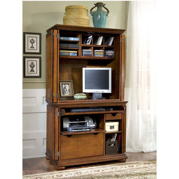 Warm Oak Finish Homestead Computer Cabinet & Hutch by Home Styles