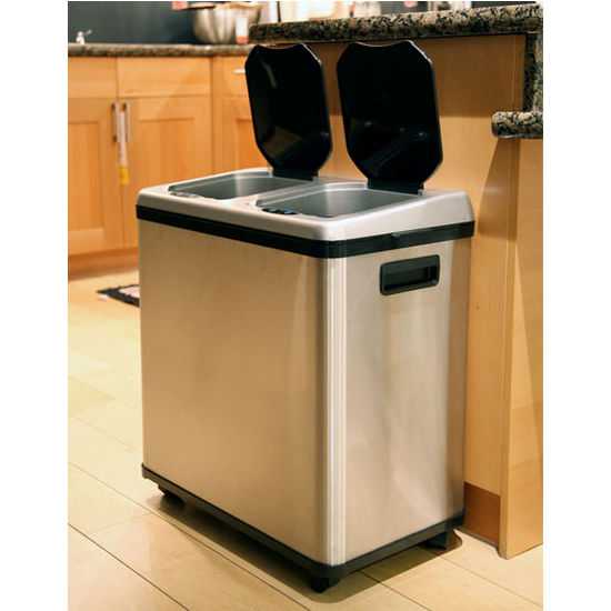 Trash Cans 16 Gallon Dual Compartment Stainless Steel