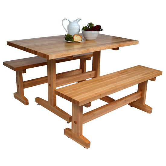John boos maple trestle table multiple sizes bench sold seperately ebay - Kitchen table bench plans ...