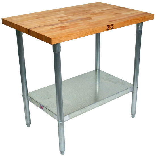 "1�"" Maple Top w/ Galvanized Base & Shelf"