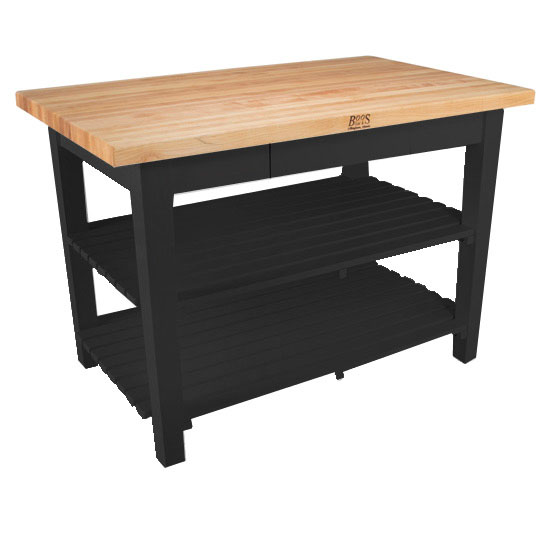 "24"" D Classic Country Work Table Kitchen Island with 2 Shelves by John Boos"