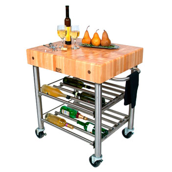 Maple Top Cucina D'Amico Wine Cart by John Boos