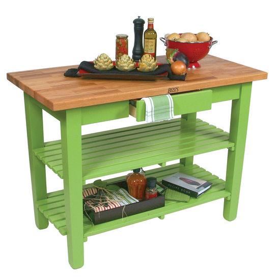 "John Boos Oak Table Boos Block, 36""W x 25""D x 35""H, With 2 Shelves, Apple Green"