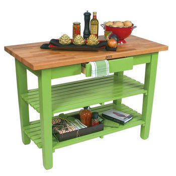 "John Boos Oak Table Boos Block, 60""W x 25""D x 35""H, With 2 Shelves, Apple Green"