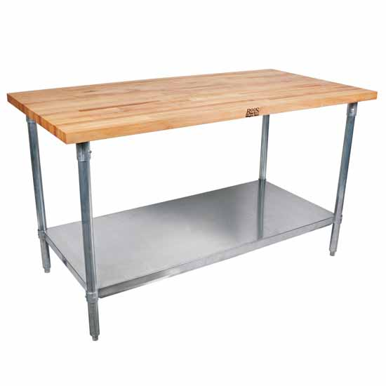 "1�"" Maple Top Worktable w/ Stainless Steel Base & Shelf"