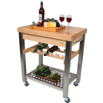 Cucina D'Vino Kitchen Cart with Maple Top and Wine Rack by John Boos