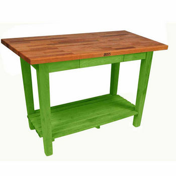 "John Boos Oak Table Boos Block, 48""W x 25""D x 35""H, With 1 Shelf, Apple Green"