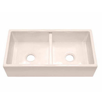 JULIEN 080112 Nantucket Double Farmhouse Biscuit Fireclay Kitchen Sink