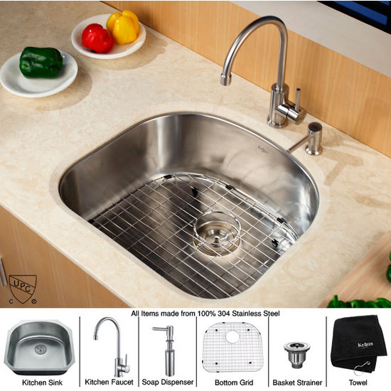 "Kraus 23"" Undermount Single Bowl Stainless Steel Kitchen Sink with Kitchen Faucet and Soap Dispenser"