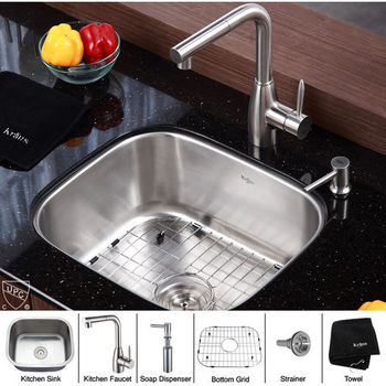 "Kraus 20"" Undermount Single Bowl Stainless Steel Kitchen Sink with Kitchen Faucet and Soap Dispenser"