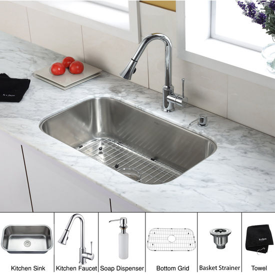 "Kraus 30"" Undermount Single Rounded Bowl Stainless Steel Kitchen Sink with Chrome Kitchen Faucet and Soap Dispenser"