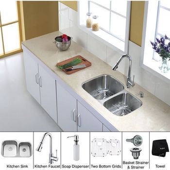 "Kraus 32"" Undermount Double Bowl Stainless Steel Kitchen Sink with Large Left Bowl, Chrome Kitchen Faucet and Soap Dispenser"