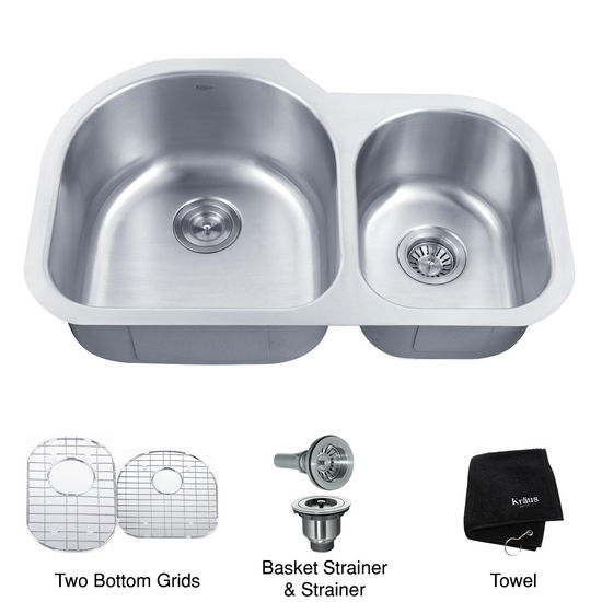 "Kraus 32"" Undermount 60/40 Double Bowl 16 gauge Stainless Steel Kitchen Sink with Larger Left Bowl"