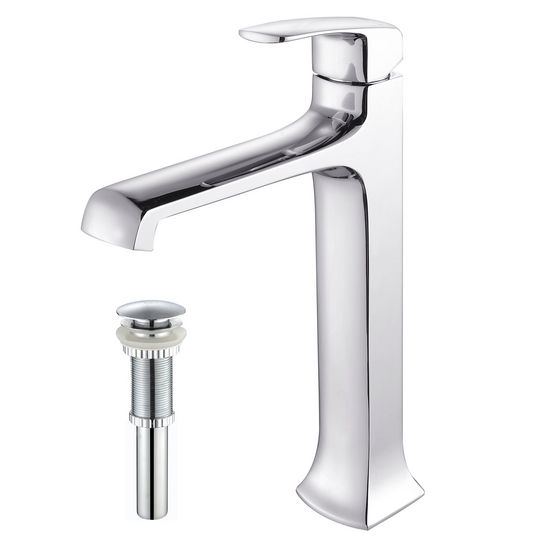 Kraus Decorum Chrome Single Lever Vessel Faucet with Pop Up Drain