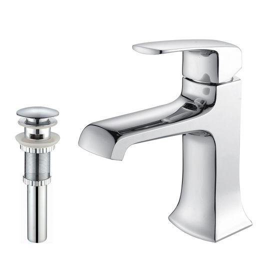 Kraus Decorum Chrome Single Lever Basin Faucet and Pop Up Drain with Overflow