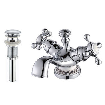 Kraus Apollo Chrome Single-hole Basin Faucet and Pop Up Drain with Overflow