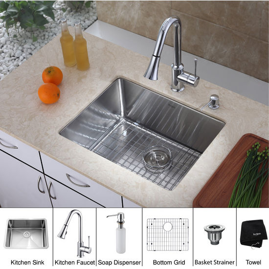 "Kraus 23"" Undermount Single Bowl Stainless Steel Kitchen Square Sink with Chrome Kitchen Faucet and Soap Dispenser"