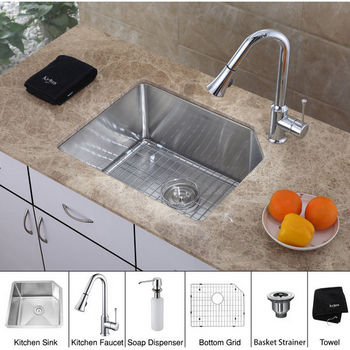 "Kraus 23"" Undermount Single Bowl Stainless Steel Kitchen Sink with Cut Corner, Chrome Kitchen Faucet and Soap Dispenser"