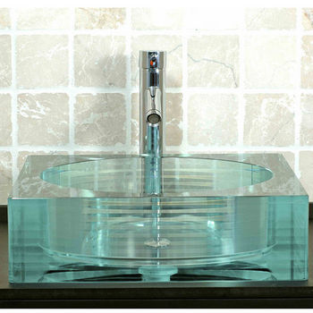 Cantrio Koncepts Layered Glass Vessel Bathroom Sink