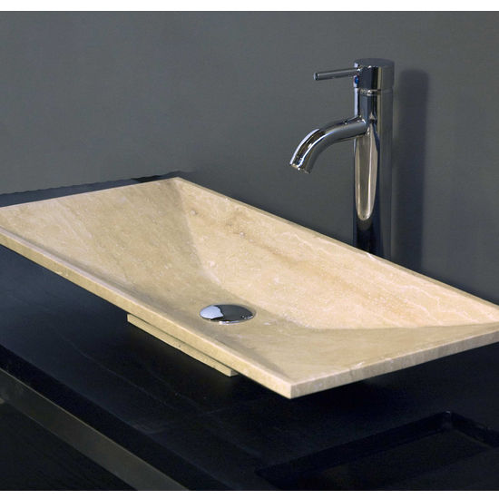 "Travertine Stone Vessel Bathroom Sink 13"" W x 28-3/4"" D X 3-3/4"" H"