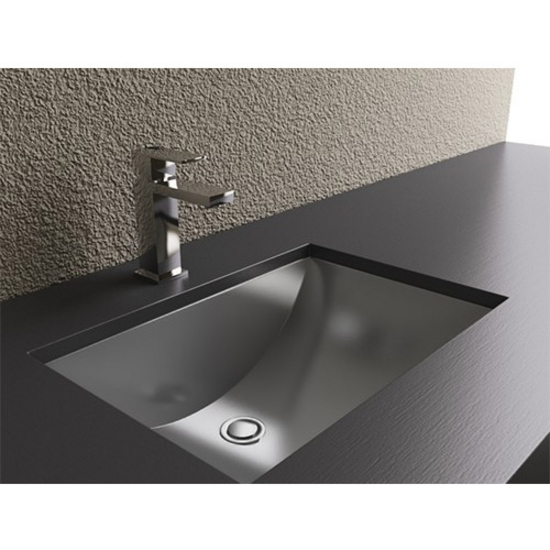Bathroom sinks rectangular shape with curvilinear basin stainless steel with brushed finish Stainless steel bathroom vanities